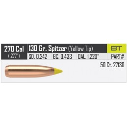 Nosler 130gr Ballistic Tip Hunting Bullets 270 Caliber (50 pack)
