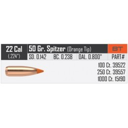 Nosler 50gr Ballistic Tip Varmint Bullets 22 Caliber  (100pack)